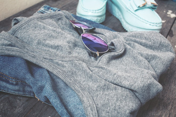 Fashion set of jeans shoes and glasses