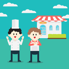 Young professional chefs. cartoon vector illustration