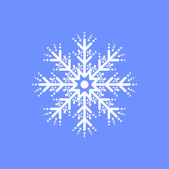 Snowflake on blue background for winter invitation card, vector logo icon template. Merry christmas, new year.