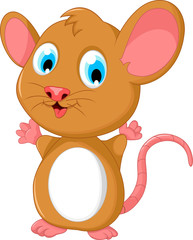 happy fat mouse cartoon posing