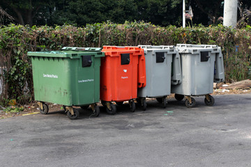 City trash cans (garbage bin) with wheels