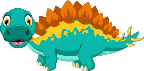 cute stegosaurus cartoon posing
