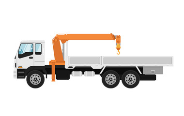 Commercial truck mounted crane isolated on white background vector illustration. Modern mobile hydraulic crane side view. Vehicle for cargo transportation service. Design element for your projects