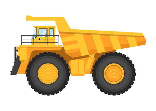 Big and heavy mining truck isolated on white background vector illustration. Modern dump truck side view. Vehicle for cargo transportation service. Design element for your projects. Mining industry