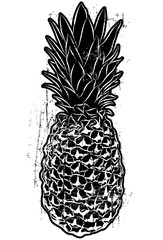 Woodcut Style Pineapple..American election buttons over stripes and a distressed background.