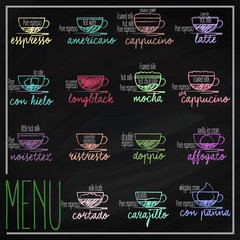 Set of coffee menu