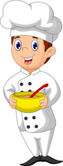 funny chef cartoon holding a bowl