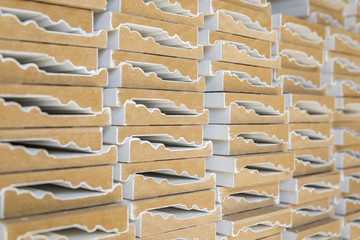 Decorative mouldings in old warehouse, shallow depth of field