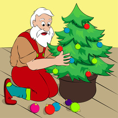 Santa Claus decorating a Christmas tree in his house. Simple cartoon style, vector illustration