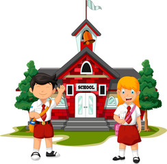 two student with school building background