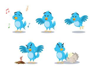 blue bird cartoon set illustration design