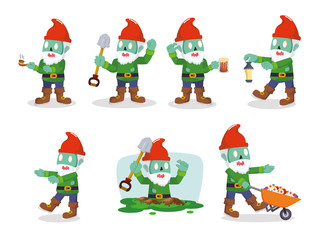 gnomes zombie set illustration design