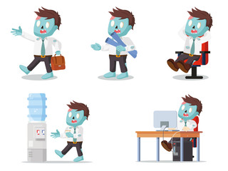 zombie office set illustration design