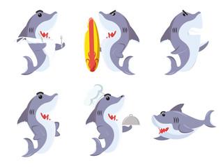 shark cartoon set illustration design