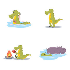 crocodile cartoon set illustration design