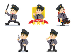 policeman cartoon set illustration design