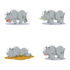 rhino cartoon set illustration design