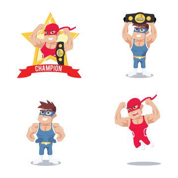 wrestler cartoon set illustration design