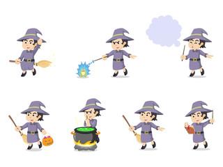 witch cartoon set illustration design