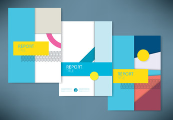 Report Covers with Abstract Design Element Layout