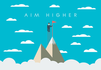 """Aim Higher"" Mountaineer Illustration"