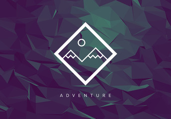 Mountain Illustration on Dark Polygonal Background