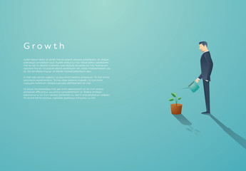 Businessperson Watering Plant Illustration