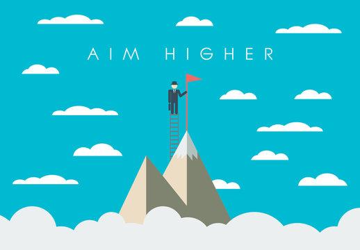 """Aim Higher"" Mountaineer Illustration"