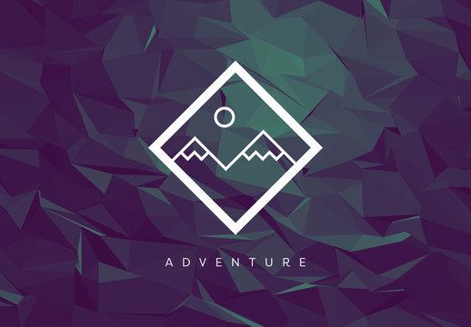 Mountain Illustration on Dark Polygonal Background