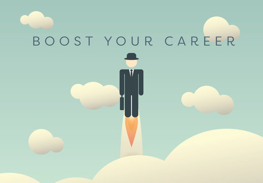 """Career Boost"" Flying Businessperson Illustration"