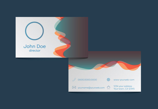 Layered Gradient Wave Design Business Card Layout