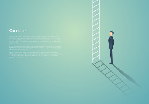 Businessperson Looking at Ladder Illustration