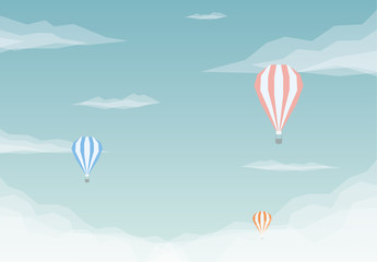 Hot Air Balloon Above the Clouds Illustration