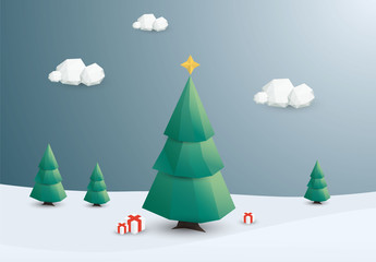 Polygonal Outdoor Christmas Tree Illustration