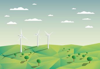 Wind Turbines in a Field Illustration