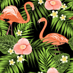 Flamingos in palm leaves with camellia plumeria