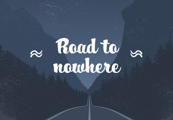 """Road to Nowhere"" Dark Mountain Highway Illustration"