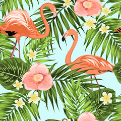 Flamingo birds tropical rainforest jungle pattern