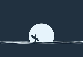 Surfer at Night Illustration
