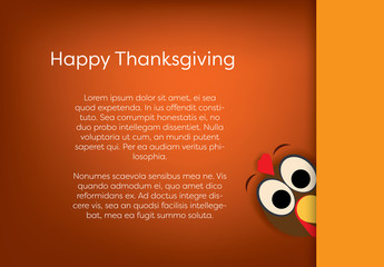 Cartoon Turkey Thanksgiving Card Layout 1