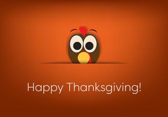 Cartoon Turkey Thanksgiving Card Layout 2