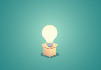 Lightbulb in Box Illustration