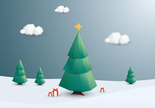 Polygonal Outdoor Christmas Tree Illustration