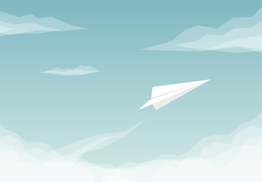 Paper Plane Flying Illustration