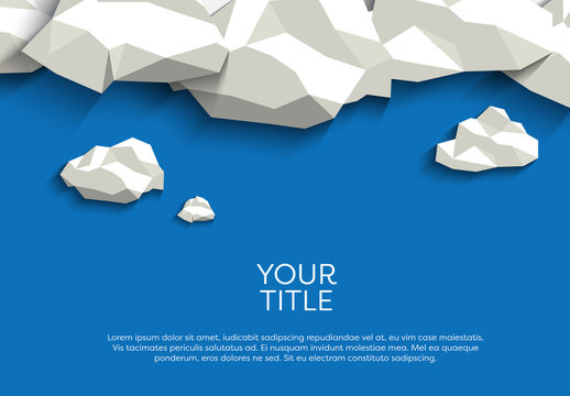 Polygonal Clouds Above Text Illustration