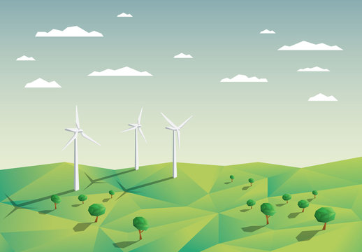 Wind Turbines in a Field Illustration