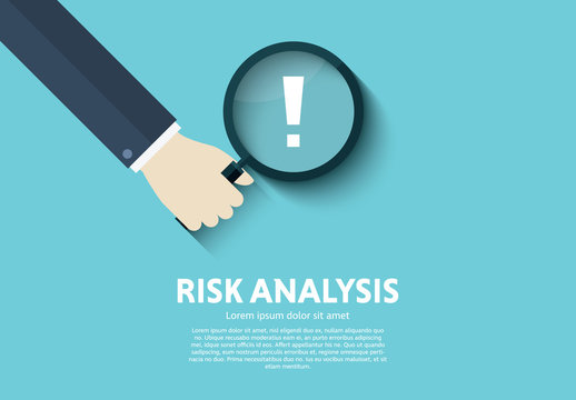 """Magnifying Glass and Exclamation Point """"Risk Analysis"""" Illustration"""