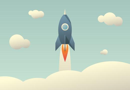 Rocket Ship Flying Above Clouds Illustration