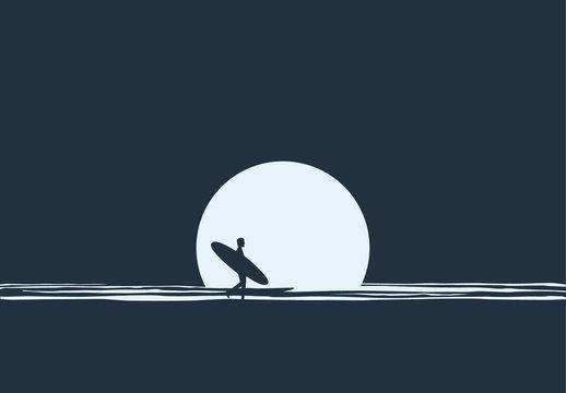 Surfer at Night Illustration