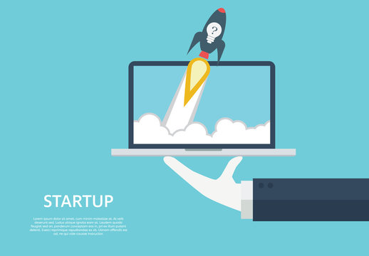 """Startup"" Rocket Ship Illustration"